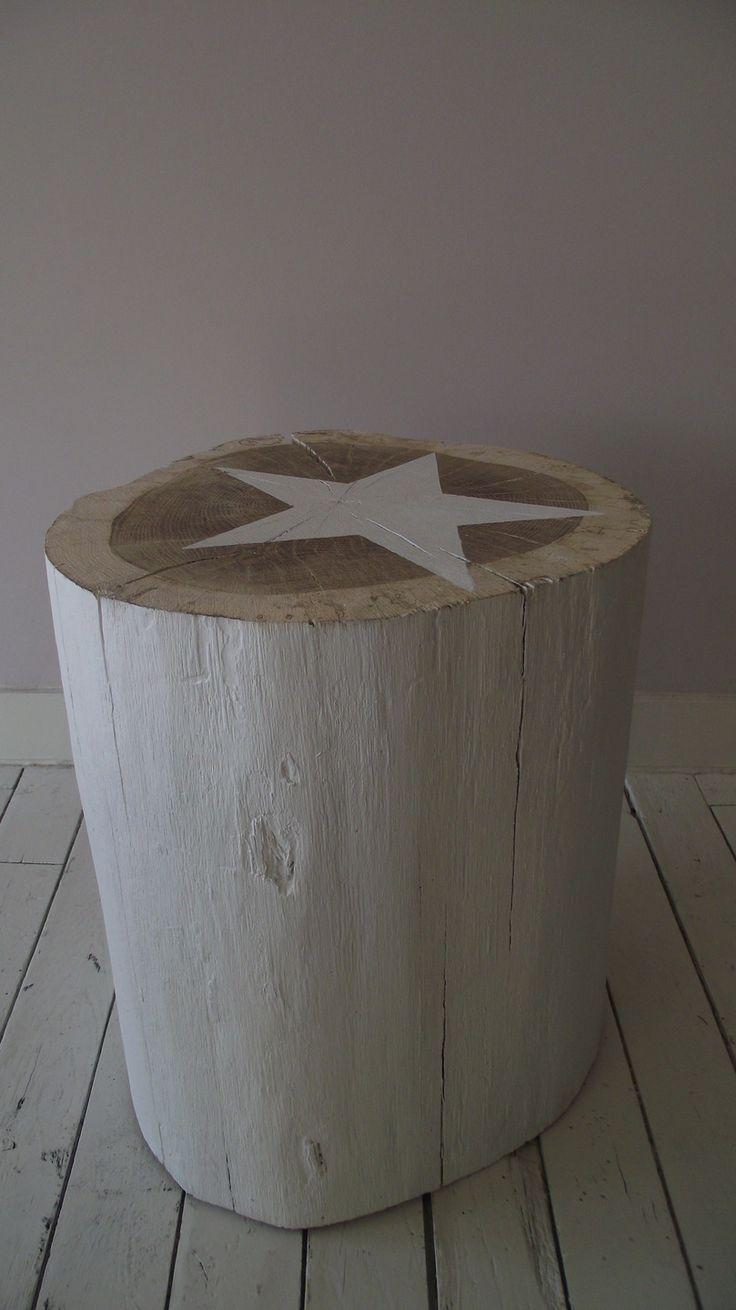 Table bûche 27X34 cm brute en bois massif chevet tabouret table d'appoint avec étoile blanche : Meubles et rangements par atelier-de-stael