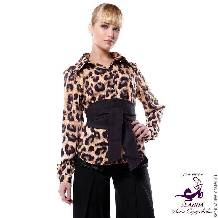 """Купить Блузка-рубашка """"Леопардовая на работу"""" из хлопка стрейч любой размер - леопардовая блузка"""