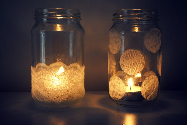 jars prettied up with a little lace - from houseofhumble