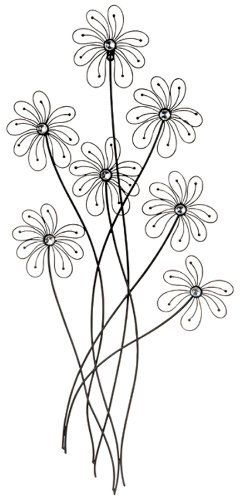 Black Metal Daisy Flower Wall Decor By Uma 27 53 Great For Bedrooms Bathrooms