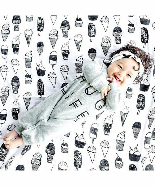 babybaby(ベイビーベイビー)の「Modern Burlap(モダンバーラップ) モノクロおくるみ1枚セット(ベビー用品)」 詳細画像