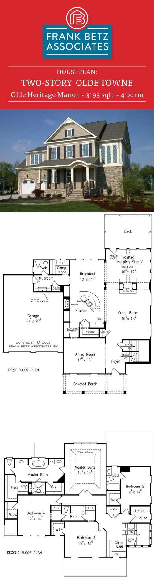 Betz house plans with large kitchen frank house plans designs ideas -  Design By Frank Betz Associates Inc Olde Heritage Manor 3193 Sqft 4 Bdrm Two Story Olde Town House