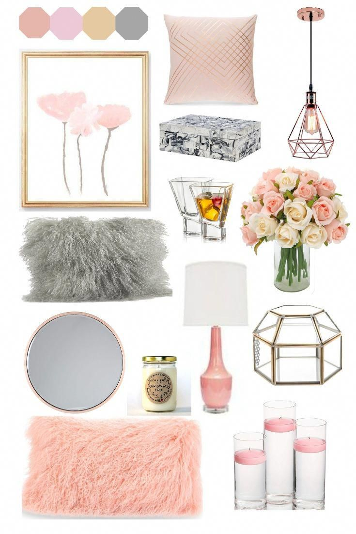 I Found All This On Amazon At Very Decent Prices And I Decided It S Worth Sharing Blush Homedeco Grey Room Decor Pink And Grey Room Living Room Decor Gray