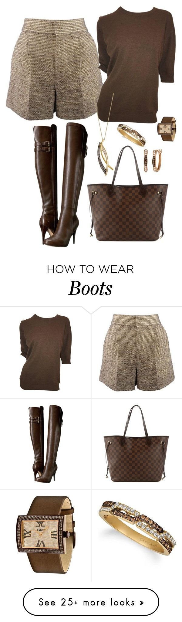 """""""shorts and boots"""" by mynextlife on Polyvore featuring Chloé, MICHAEL Michael Kors, Chanel, Louis Vuitton and LE VIAN"""