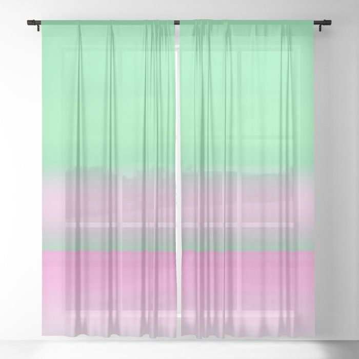 Green Pink Ombre Horizon Sheer Curtain By Artaddiction45 Society6 Sheer Curtain Pink Ombre Curtains