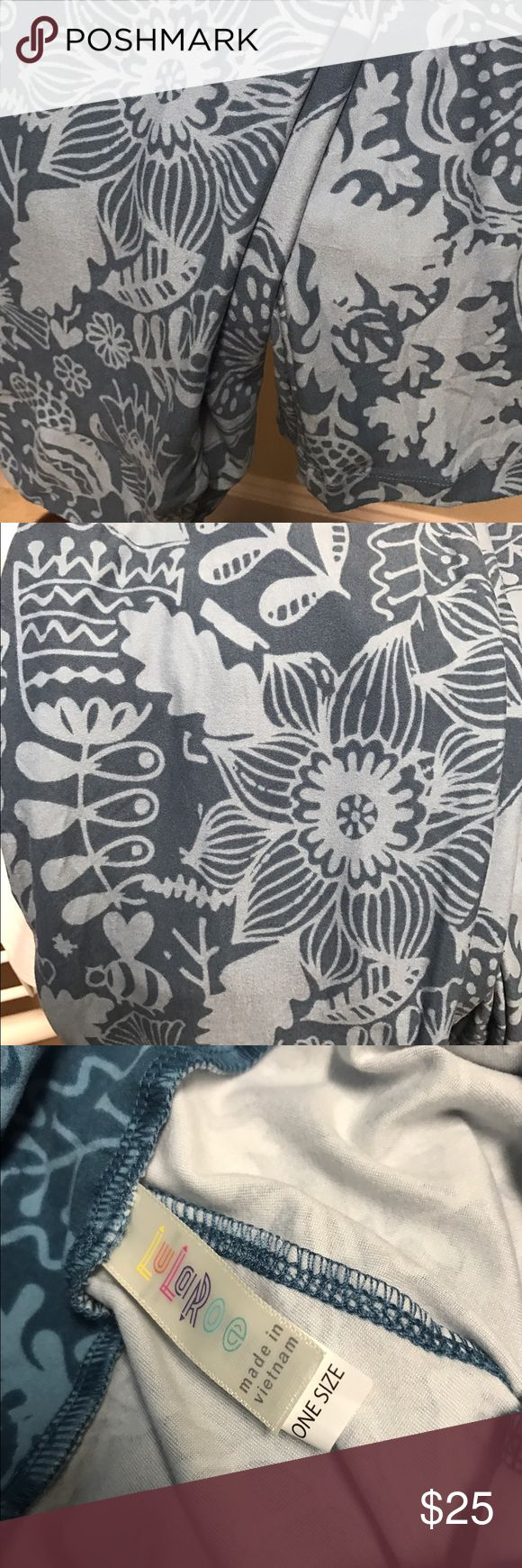 Blue OS Lularoe floral Beautiful blue with light blue flowers excellent used condition LuLaRoe Pants Leggings
