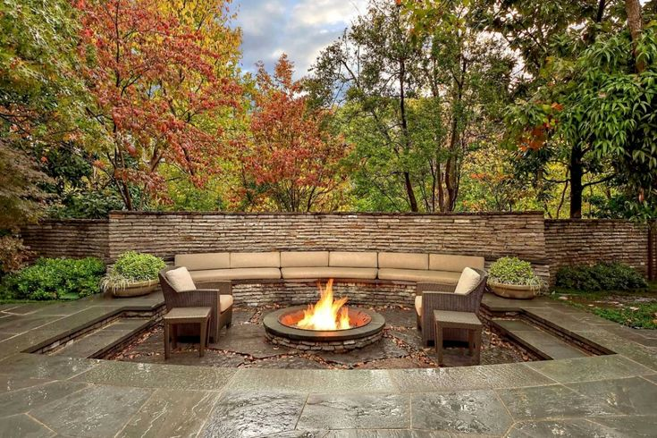 Amazing Outdoor Fireplace Ideas: Garden Ideas With Outdoor Fireplace Ideas And Wicker Patio Furniture Also Patio Seat Cushions With Unique Fire Pits And Paver Patio Designs Plus Fence Ideas With Planters And Backyard Landscape