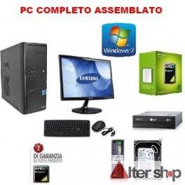 "PC Desktop COMPLETO AMD 2,8 GHZ ASROCK HD 500GB RAM 4GB WINDOWS 7 MONITOR 19"" Tastiera e Mouse"