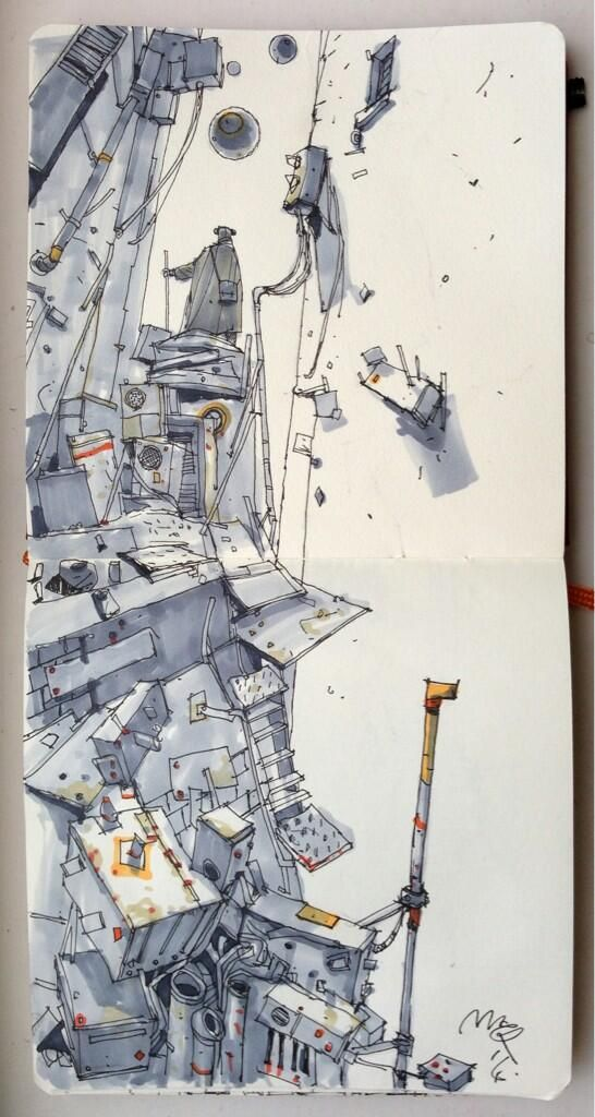 This conceptual sketch uses grey Copic pens in various shades and weights to…