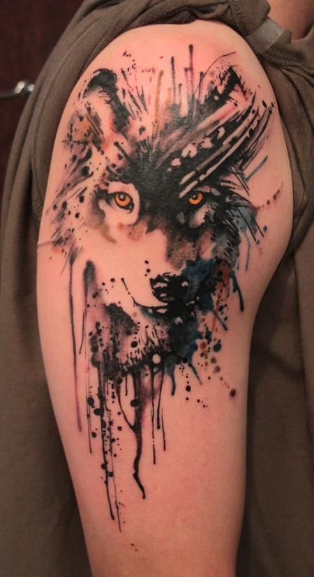 Paint Splatter Wolf by Gene Coffey