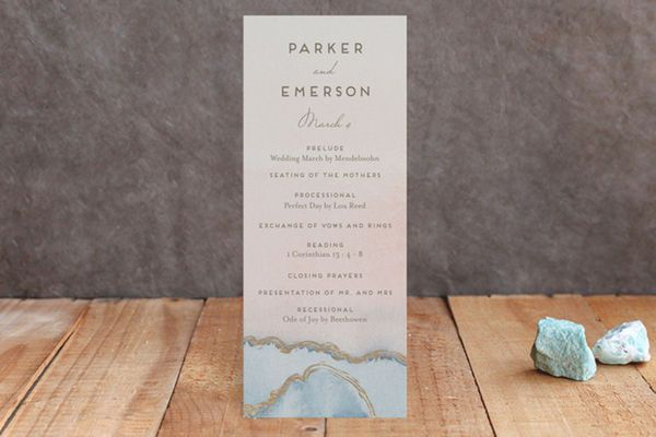 Wedding program by Minted: This program does a terrific job of incorporating the latest in trendy wedding details. Agate accents are all the rage right now, and this muted wedding program with gold foiling is a beautiful example.