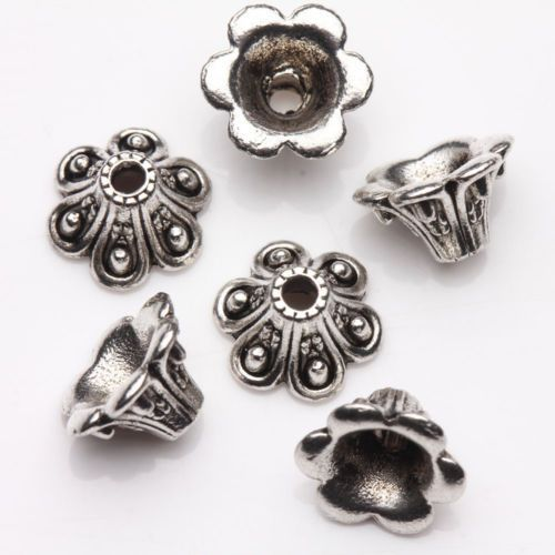 15Pcs-Tibet-Silver-Plated-Arch-Flower-Spacer-Bead-Caps-Jewelry-Finding-DIY-9x6mm