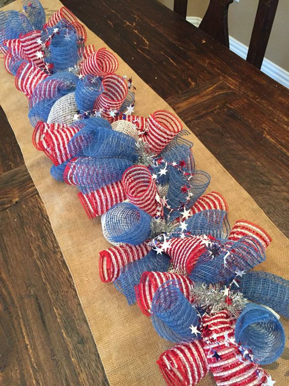 Fourth of july garland, deco mesh garland, deco mesh wreath, patriotic decor, centerpiece, garland Denim blue, red and white. If you like a vintage look, this piece is perfect for your home. Can be made in 3 ft, 6 ft and 9 ft. Great for mantels and table centerpieces.