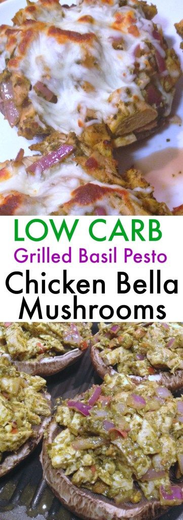 A guilt-free and easy LOW CARB dinner that is bursting with flavor from the cheesy basil pesto chicken layered onto the tender portobello mushroom. It will quickly become a favorite recipe and it only took 20 minutes to make!