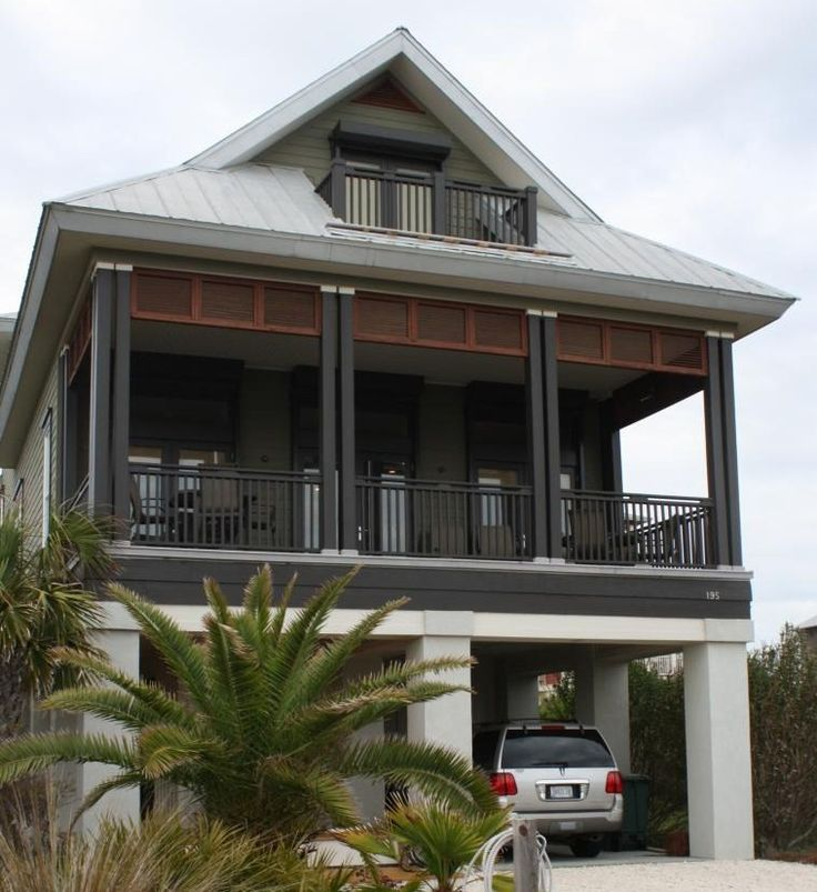 Beach Apartment: Trimming The Porch Beam With Horizontal Shutter Good For