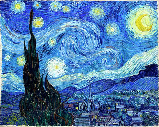 Starry night 1889 This is one of Van Gogh's most well known pieces of work. Unlike the majority of his work Starry night was painted from memory and not out in the landscape. Starry night is memorable because of its unique style the sky keeps the viewers eyes focused on it as they follow the curves. The painting creates a peaceful and tranquil atmosphere.