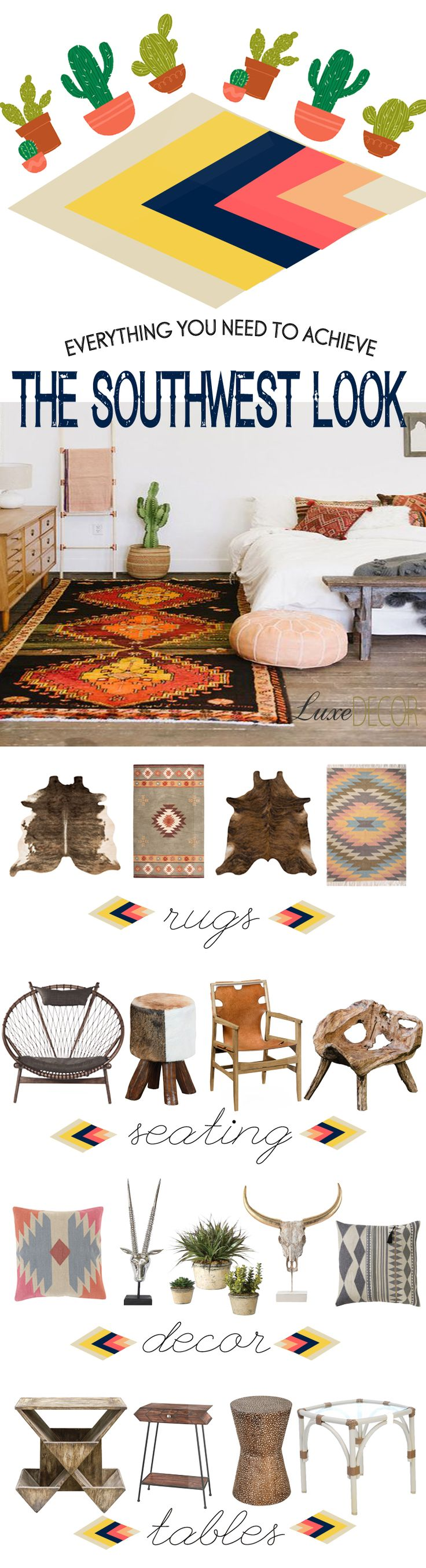 Of all the 2016 home trends, we love the look of a Southwest influenced abode. From graphic prints to bold colors, we can't get enough of vibrant Mojave rugs, leather chairs, animal hide accents, and lush succulents. Ground a ranch style desert aesthetic with LuxeDecor's curated selection of Southwest decor.