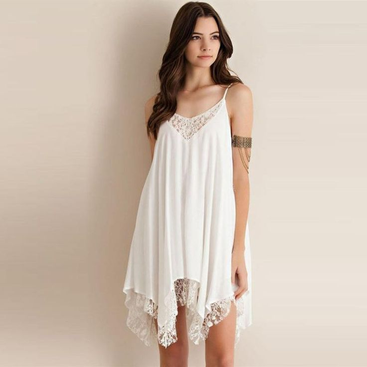Women dresses Chiffon girl Casual Solid Sling Sleeveless Lace Cocktail Short Beach Mini Dress Appliques O-Neck A-Line clothing