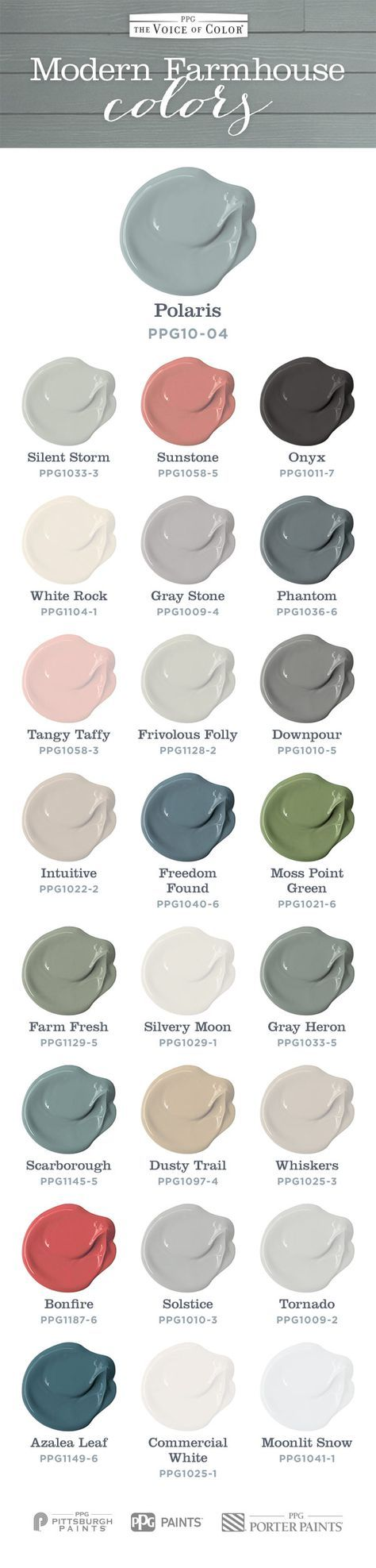 Modern farmhouse inspired styles are extremely trendy, as seen on popular design show Fixer Upper, with designers pulling from French, Industrial and Country styles featuring these paint colors. Achieve the rustic, but soft modern farmhouse look in your own home with these paint colors! More