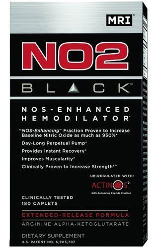 M.R.I. NO2 Black, 180-cap Bottle by M.R.I.. $23.99. NO2 Black is the first patented extended-release nitric oxide generator designed to deliver upper limit nitric oxide all day long. It is enhanced by the patent-pending ACTINOS2 technology. ACTINOS2 was developed to increase NOS (nitric oxide synthase), the rate-limiting factor in the human body's ability to generate nitric oxide.With more NOS, NO2 Black delivers upper limit nitric oxide for massive gains in lean ...