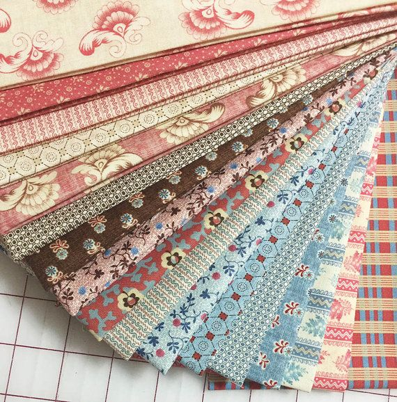 SOFTLY SPOKEN - 17 Civil War Reproduction Quilt Fabric Fat Quarters - Harriet Hargraves for Marcus Brothers
