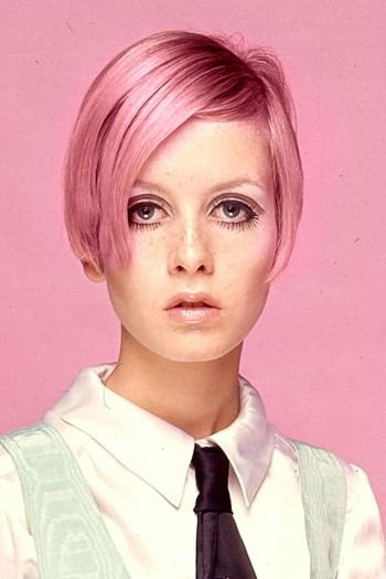 Twiggy.  Pink hair.  1960's. I had a friend in school who looked alot like This photo of Twiggy.