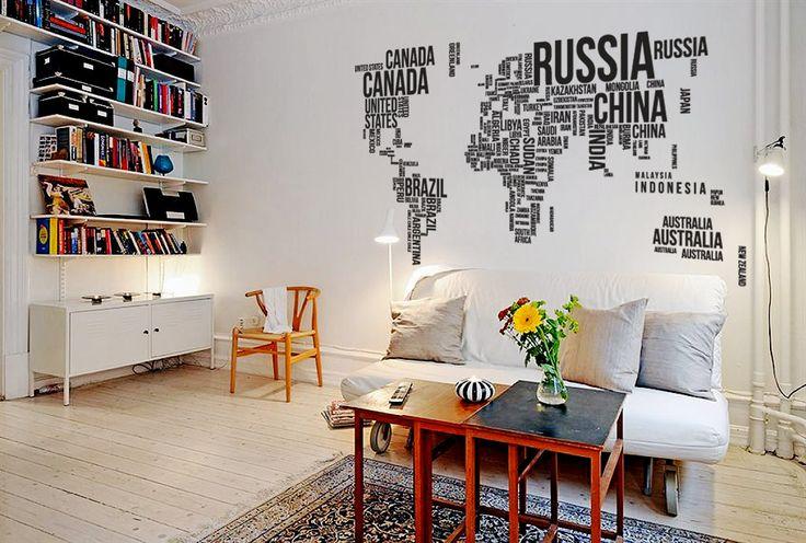 """Wall Decal Vinyl Sticker Home Decor Modern Art Mural """" World MAP """" 94.5'' x 50.4"""". $185.00, via Etsy."""