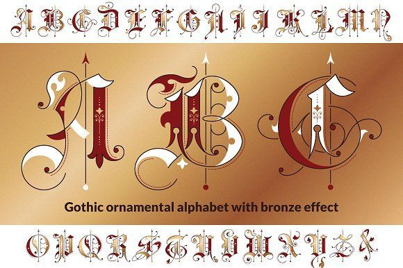 """Gothic ornamental initials with bronze effect wich can be used to make posters, cards, logos and book design. The basis of this alphabet was taken from """"Gems of Penmanship"""" by Williams&Packard, 1867."""