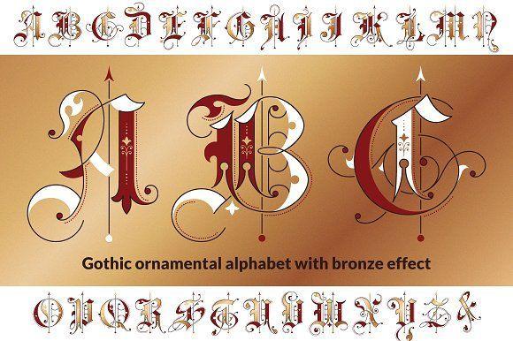 Gothic ornamental alphabet by Imperator_Kot on @creativemarket