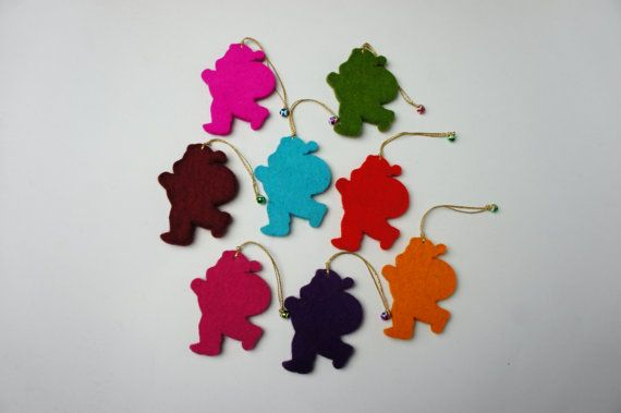 Felt Christmas Santa Claus Christmas Ornament Set Of 8 by FeltMkr, $10.00
