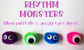 Rhythm monsters!  The puff balls represent a beat, and the eyes are how many notes are in that beat.  Genius!  :D