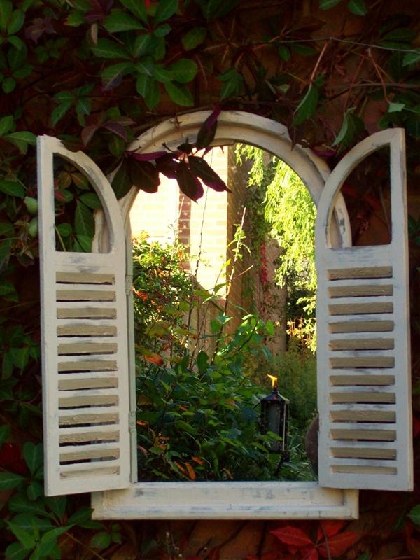 Oval Top with Louvre Doors Garden Mirror UK   Garden Mirrors. Outdoor Mirrors & Illusion Mirrors   Products