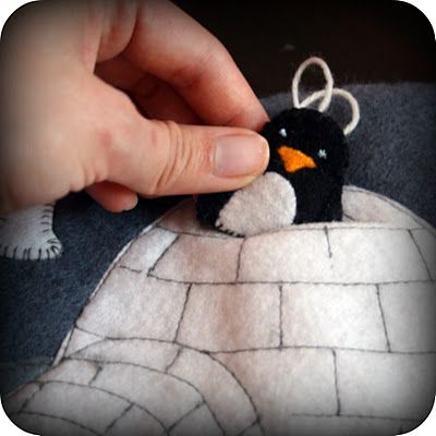 Hidey penguin in an igloo. :) (quiet book)  More ideas for quiet books.