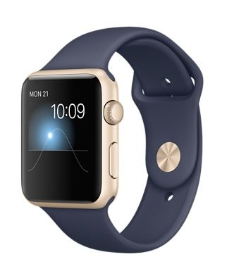 Apple Watch Sport - Gold Aluminum Case with Midnight Blue Sport Band (42mm) - $349