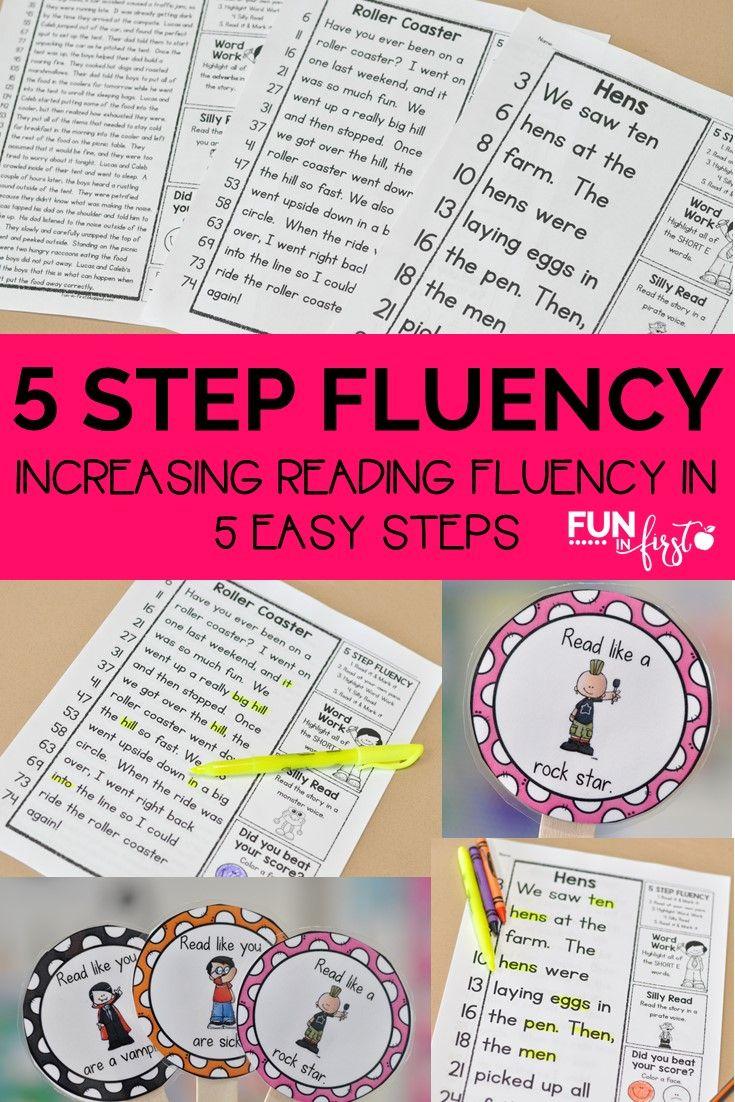 5 Step Fluency - Increasing Reading Fluency in 5 Easy Steps by Jodi Southard @ Fun in First