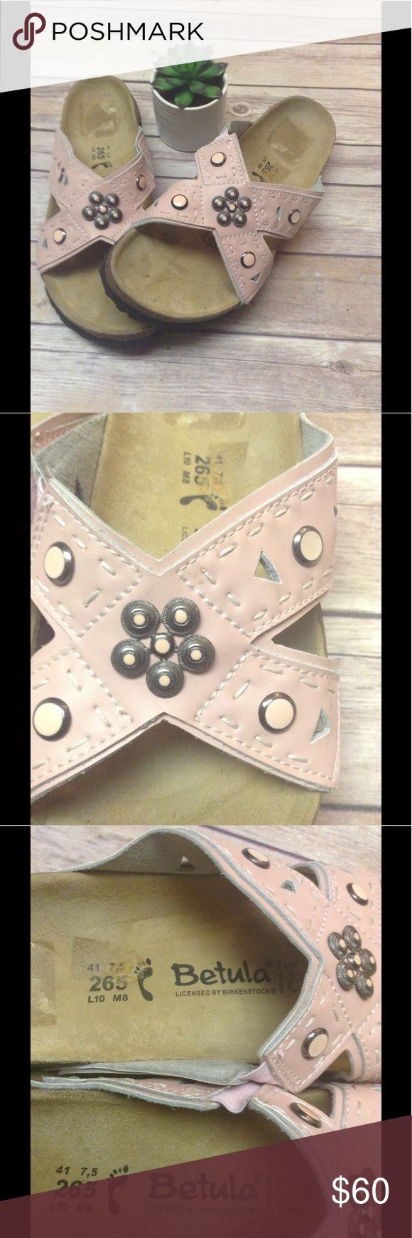 Birkenstock Betula sandals Almost new, light pink, bead and crystal embellished sandals. Birkenstock Shoes Sandals
