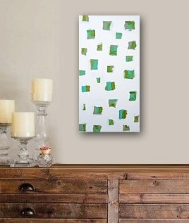 """'Art is marks on canvas trying to find a place to live.' Bill O'Leary. What is so especially interesting about this painting is the green marks continuously wrap around all four sides of this unique box canvas. It can be hung horizontally or vertically. 6"""" x 12"""" x 1.5"""": Green Mark, Home Wall Decor, Art Paintings, Contemporary Interiors Design, Fascinators Artworks, Fine Art, Modern Paintings, Galleries Fine, Abstract Modern"""