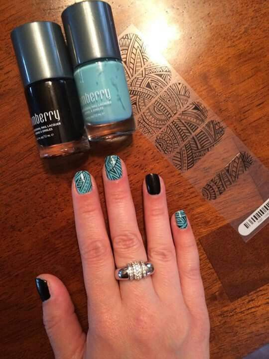 Jamberry Morning Mist Lacquer with Lost Ruins wrap layered over it with Raven Lacquer accent nails!