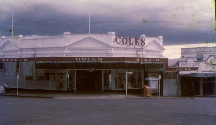 1972 Coles Store, cnr Edith & Rankin Streets, with the Empire Cafe and Moffatt's Jewellers.