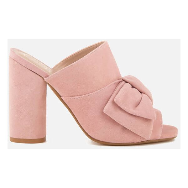 KG Kurt Geiger Women's Jessika Suede Heeled Mule Sandals ($79) ❤ liked on Polyvore featuring shoes, sandals, pink, open toe mule sandals, slip on shoes, mule sandals, slip on mules and pink sandals