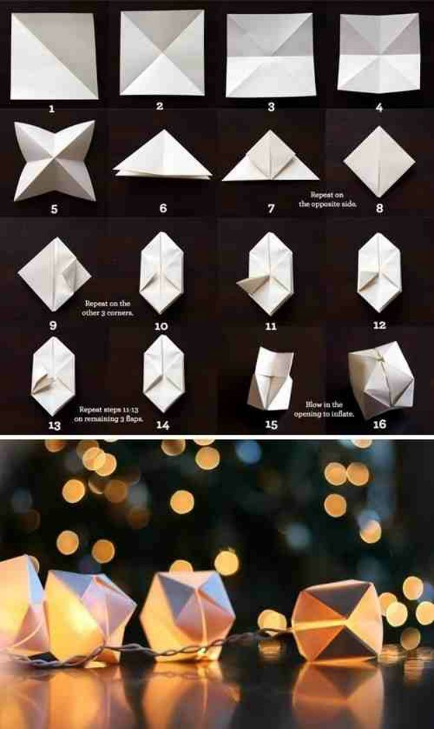 DIY Party Ideas! Make a decorative paper cube string of lights. | http://diyready.com/20-new-years-eve-party-ideas-new-years-eve-ideas/