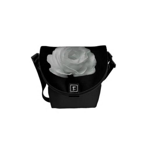 Black And White Rose Messenger Bag