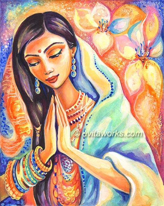 Praying Woman, Watercolor Painting, Inspirational Art, Spiritual Art, Indian…