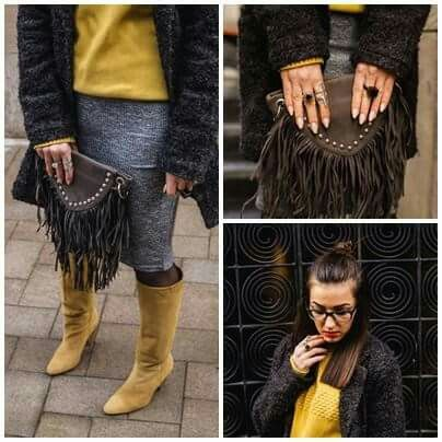 Fashion Blogger  www.ramonacervenciuc.ro  #fringe #yellow #grey #boots #coat
