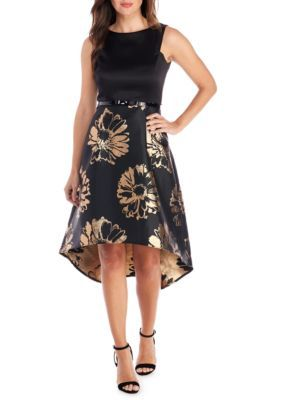 Donna Ricco New York Women's High Low Brocade Fit-And-Flare Dress - Black/Gold - 10