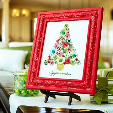 Embroidered fabric christmas tree--LOVE!: Idea, Christmas Crafts, Holidays Crafts, Frames, Fabrics Scrap, Buttons, Christmas Decor, Fabrics Christmas Trees, Diy Christmas