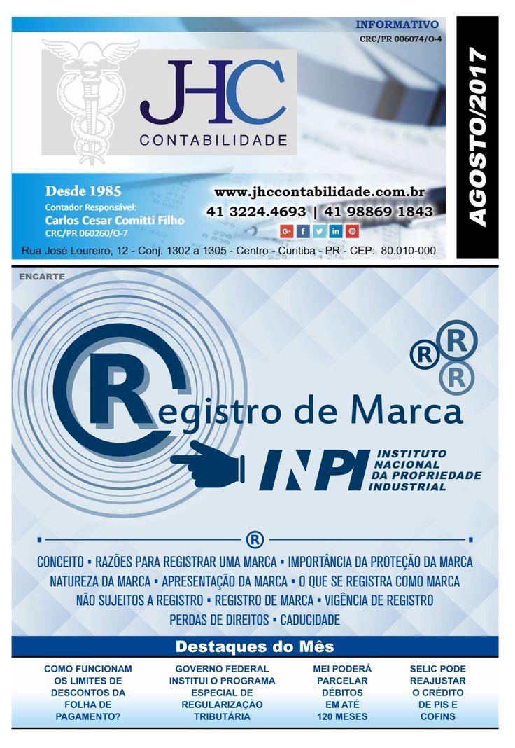 Boa tarde! Confira nosso #Informativo de #Agosto. No encarte principal, você fica sabendo tudo a respeito de Registro de Marcas. Clique no link (http://www.businessinformativos.com.br/…/i…/MjAxN18wOC8yODE3) e confira este e outros assuntos que envolvem o Setor #Contábil. #BoaLeitura! #Contabilidade #JHC #JHCcontabilidade #Curitiba