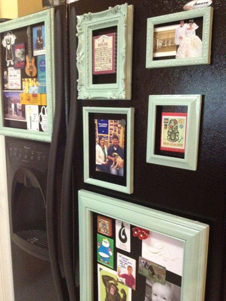DIY Magnetic Fridge Gallery- Great repurposing of old picture frames!