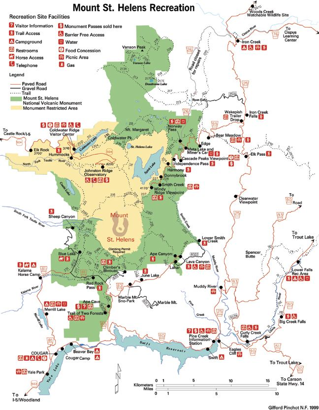 map mt st helens area | Trail map showing the Mount Saint Helens Recreation area, within which ...