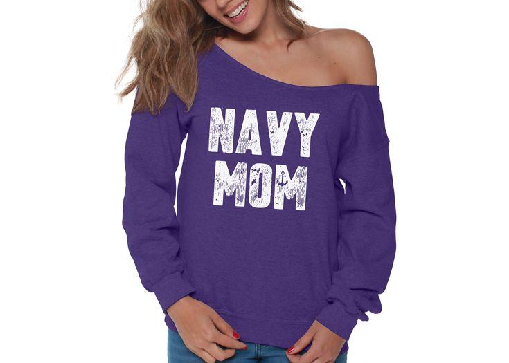 Navy Mom Womens Off the Shoulder Sweatshirt Slouchy Top Military Proud TShirt, SweatShirt for Women - 2XL Grey 1